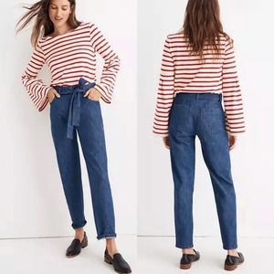 Madewell Denim Tie Waist High-Rise Tapered Pant 28